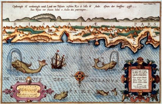 Kartographische Darstellung des Golfs von Biscaya, Waghenaer, 1586