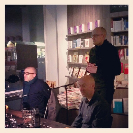 Thomas Gralla, Christopher Brookmyre (r.), Frithjof Klepp (stehend)