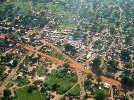 Ansicht eines Teils von Juba aus der Luft
