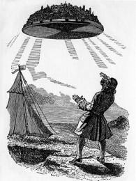 Gulliver entdeckt Laputa, die Stadt auf der fliegenden Insel. (Buchillustration von Grandville, 1838)