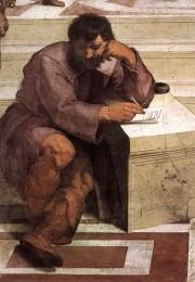 Heraklit in der Gestalt Michelangelos, Detailansicht aus Raphaels Die Schule von Athen (1510–1511), Fresko in der Stanza della Segnatura, Vatikan