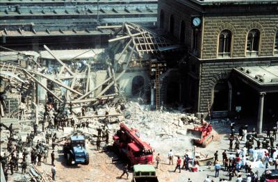 Zerstörter Hauptbahnhof von Bologna