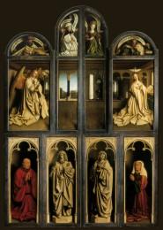 Der Genter Altar (Lammanbetung) mit geschlossenen Flügeln, 1432