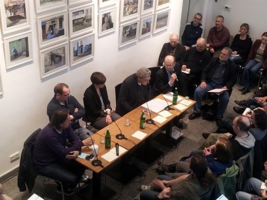 """Thomas Zorbach (Geschäftsführer VM People), Christian Koch (Buchhändler; Hammett-Berlin), Leonie Schöbel (Michael Meller Literary Agency), Thomas Wörtche, Reinhard Jahn (Autor und Vertreter des Autorenverbands """"Das Syndikat"""")"""