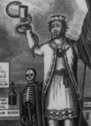 Warnung vor König Alkohol auf Plakaten und Flugschriften (Quelle: wikimedia commons, public domain)