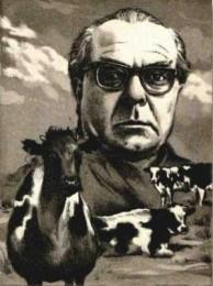 Kühe in Halbtrauer. Radierung von Jens Rusch zu Arno Schmidts Erzählung Kühe in Halbtrauer