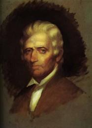 Daniel Boone (1820 erstelltes, unvollendetes Ölgemälde von Chester Harding, das einzige zu Boones Lebenszeiten erstellte Porträt)[1]