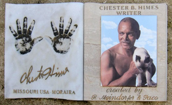 Memorial to American writer Chester Himes on Moraira Castle Beach, Spain.