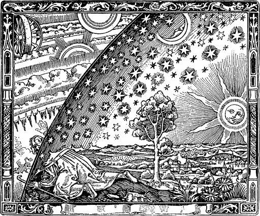 """Flammarions Holzstich – in L'atmosphère, Paris 1888, als Illustration zu """"La forme du ciel"""" im Kapitel """"Le jour""""."""