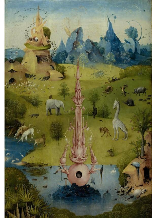 Bosch_Harten der Lüste_Linke Tafel_Hintergrund und Mittelgrund