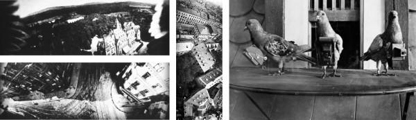 Luftaufnahmen von Schlosshotel Kronberg (oben links) und Frankfurt am Main (unten links und Mitte); Tauben mit Kameras (rechts)Pigeon_photographers_and_aerial_photographs