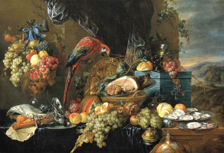 Heem,_Jan_Davidsz._de_-_A_Richly_Laid_Table_with_Parrots_-_c._1650