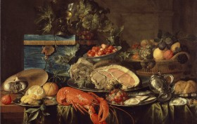 Jan_Davidsz_de_Heem_004 Still life with lobster 1643. Öl auf Leinwand . 79,2 × 102,5 cm. London, Wallace Collection.