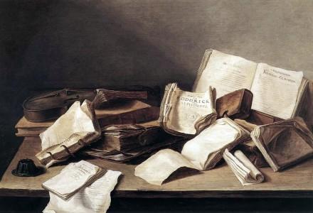 Jan_Davidszoon_de_Heem_-_Still-Life_of_Books Still-Life of Books 1628. Öl auf Holz. 36,1 × 48,5 cm. Den Haag, Königliche Gemäldegalerie Mauritshuis.