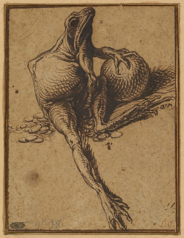 Jacques de Gheyn II (Dutch, 1565 - 1629), A Frog Sitting on Coins and Holding a Sphere: Allegory of Avarice, Dutch, about 1609, Pen and brown ink, 18 × 13 cm (7 1/16 × 5 1/8 in.), 2003.23.